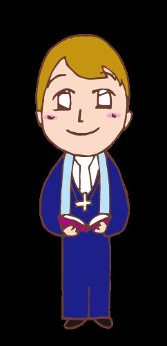 教会の牧師さんの無料イラスト画像素材 Church_Pastor