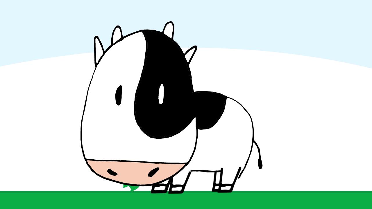 かわいい&動物のアニメーション 牛の無料動画クリップ素材