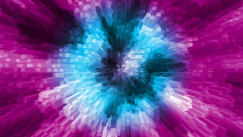 3Dブロックのワープ風背景素材_SNSのタイトルに使える無料画像