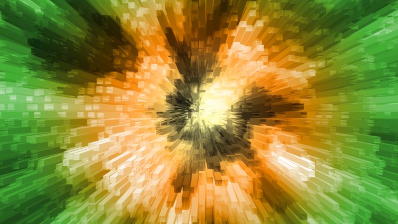 3Dブロックのワープ風背景素材_SNSのタイトルに使える無料画像グラデーション緑