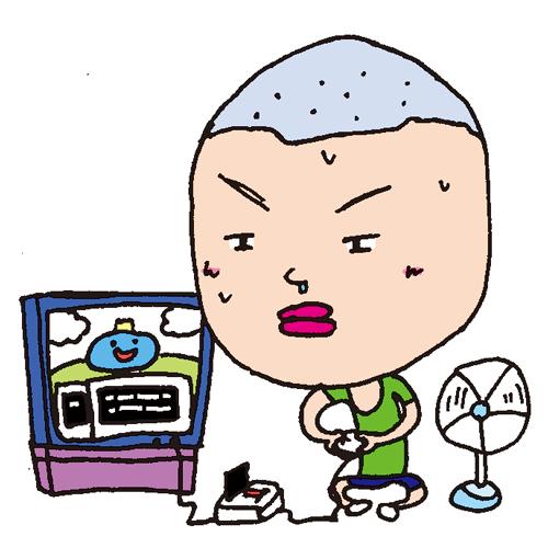 【無料イラスト素材】昔の夏休みは少年と扇風機とファミコン【坊主頭】