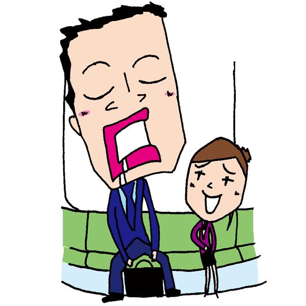 【無料イラスト素材】お疲れ様!電車内の居眠り中のおじさんサラリーマン【熟睡中】
