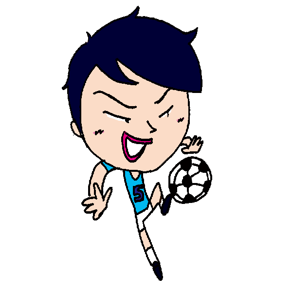 【無料イラスト素材】ゴール前のサッカー少年の空中トラップ【公式戦】