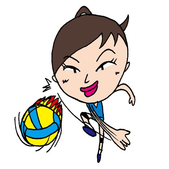 【無料イラスト素材】女性バレーボール選手のアタック【ちょっといじわる風ポップ調のコミカルキャラ】