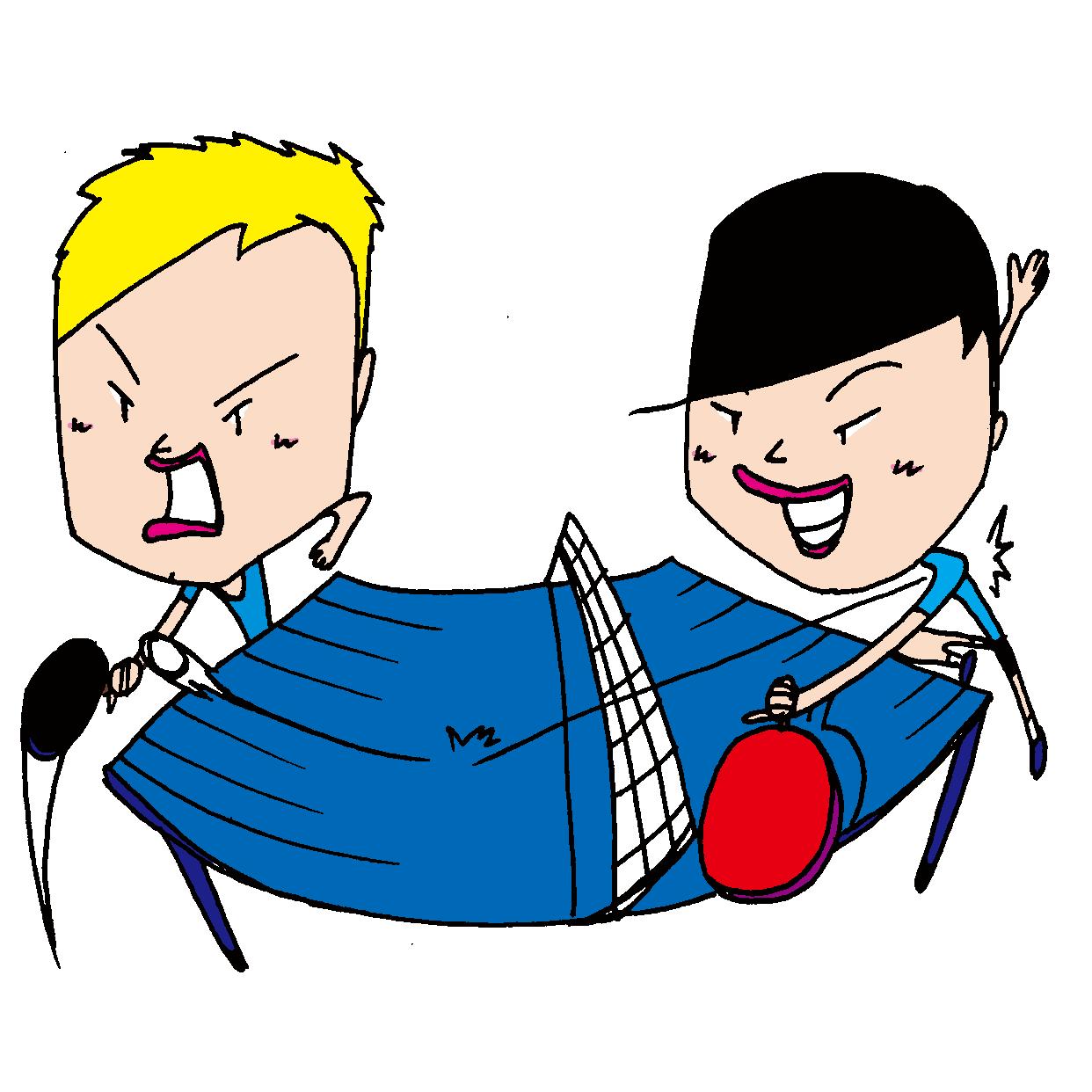 【無料イラスト素材】卓球のシングル全力試合【熱い真剣勝負】