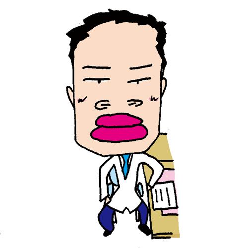 【無料イラスト素材】少し口下手なお医者さん【イスに座って診療するおじさんお医者さん】