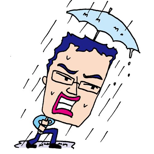 【無料イラスト素材】大雨の中でも傘をさして進むおじさん【台風にも負けない営業のサラリーマン】