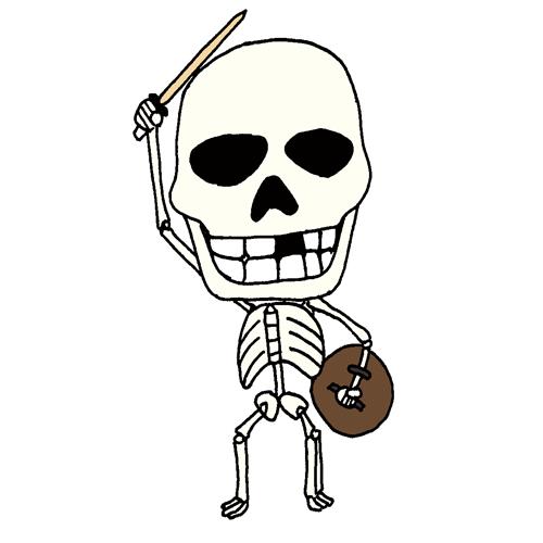 【無料イラスト素材】ガイコツ剣士の元気な勝利ポーズ【アンデッド戦士】