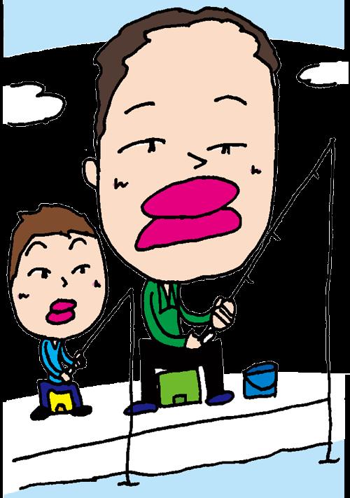 【無料イラスト素材】釣りをする親子【休日のゆったりとしたひと時】
