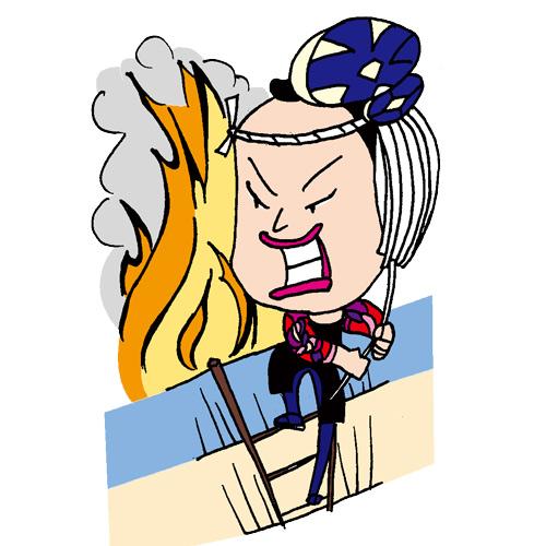 【無料イラスト素材】江戸時代の消防士・町火消し職人【壊して消火】