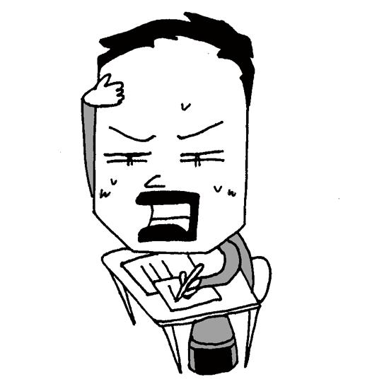 【フリーイラスト素材】学校の試験問題に悩む学生