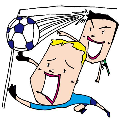【無料イラスト素材】ヘディングゴールを決めるサッカー選手