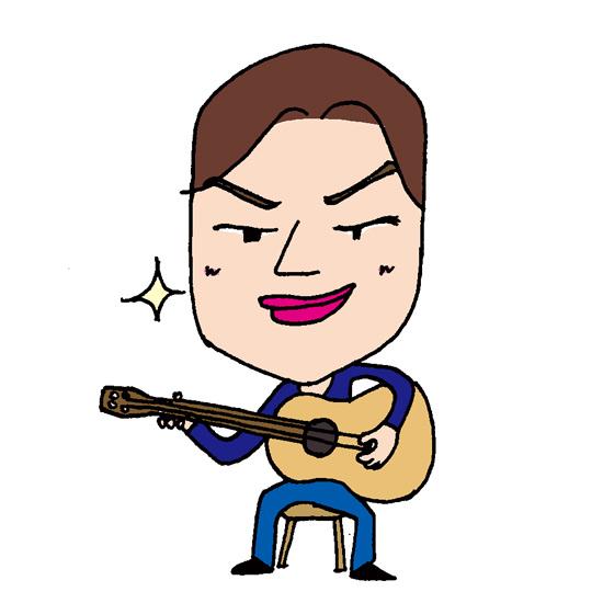 【無料イラスト素材】イケメンギタリストのドヤ顔【アコースティックギター】