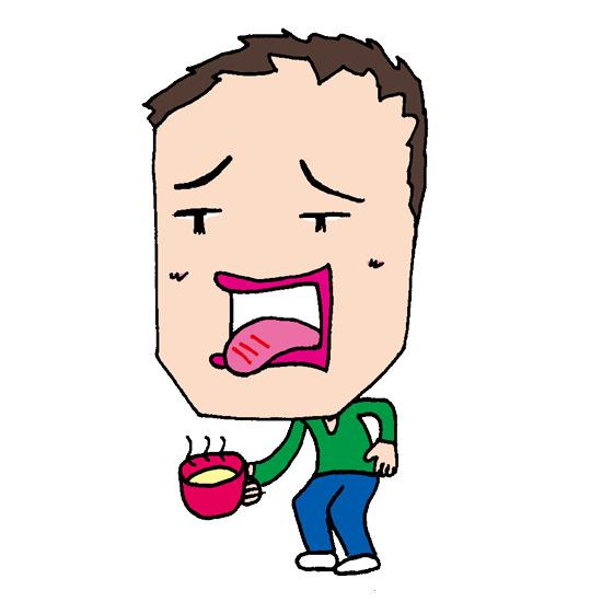 【無料イラスト素材】熱い飲み物で火傷してしまう男の人【舌を火傷】