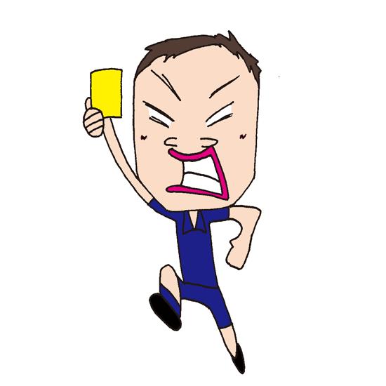 【無料イラスト素材】イエローカードを出すレフェリー【審判】