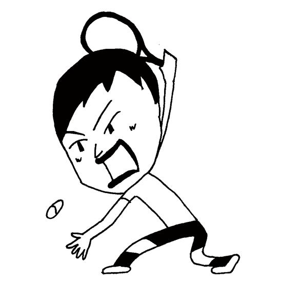 【無料イラスト素材】テニス選手のテニスボールを打ち返す瞬間_モノクロ