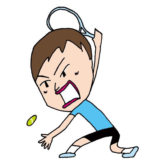 【無料イラスト素材】テニス選手のテニスボールを打ち返す瞬間