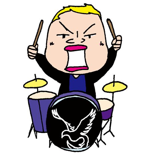 【フリーイラスト素材】ロックバンドの少しおデブのドラムス