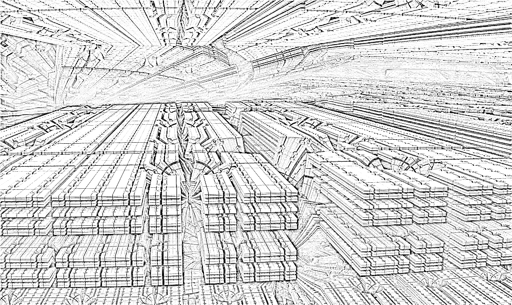 ・SFの巨大マシン&宇宙基地の中:モノクロ