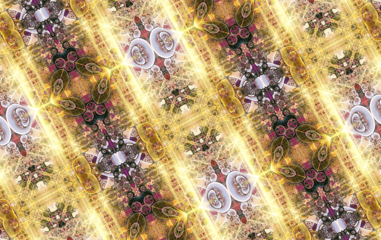 おしゃれな宝石ネオンの輝きパターン柄_ゴールド