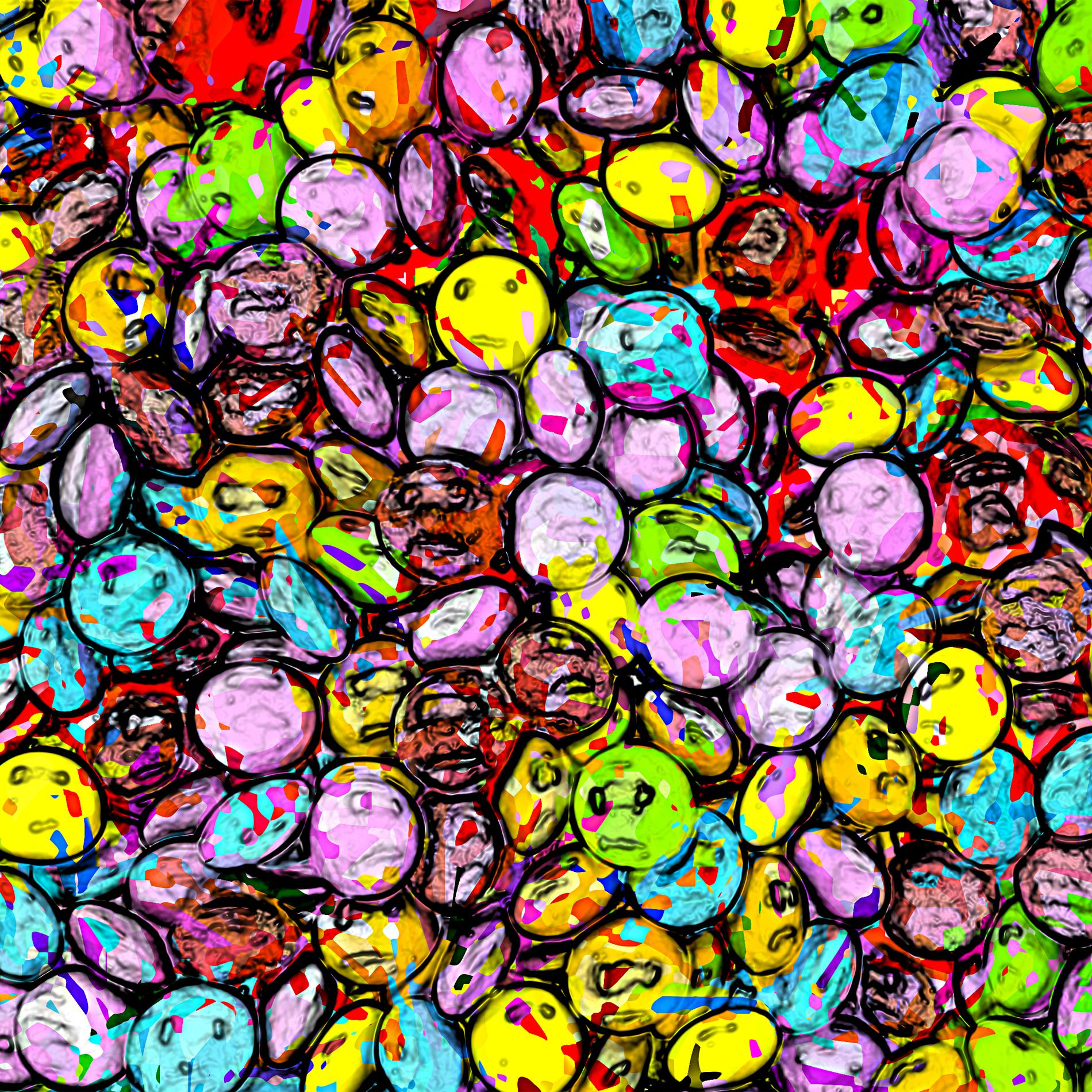 かわいいポップなカラフルチョコレートビーンズ:油絵ラフ