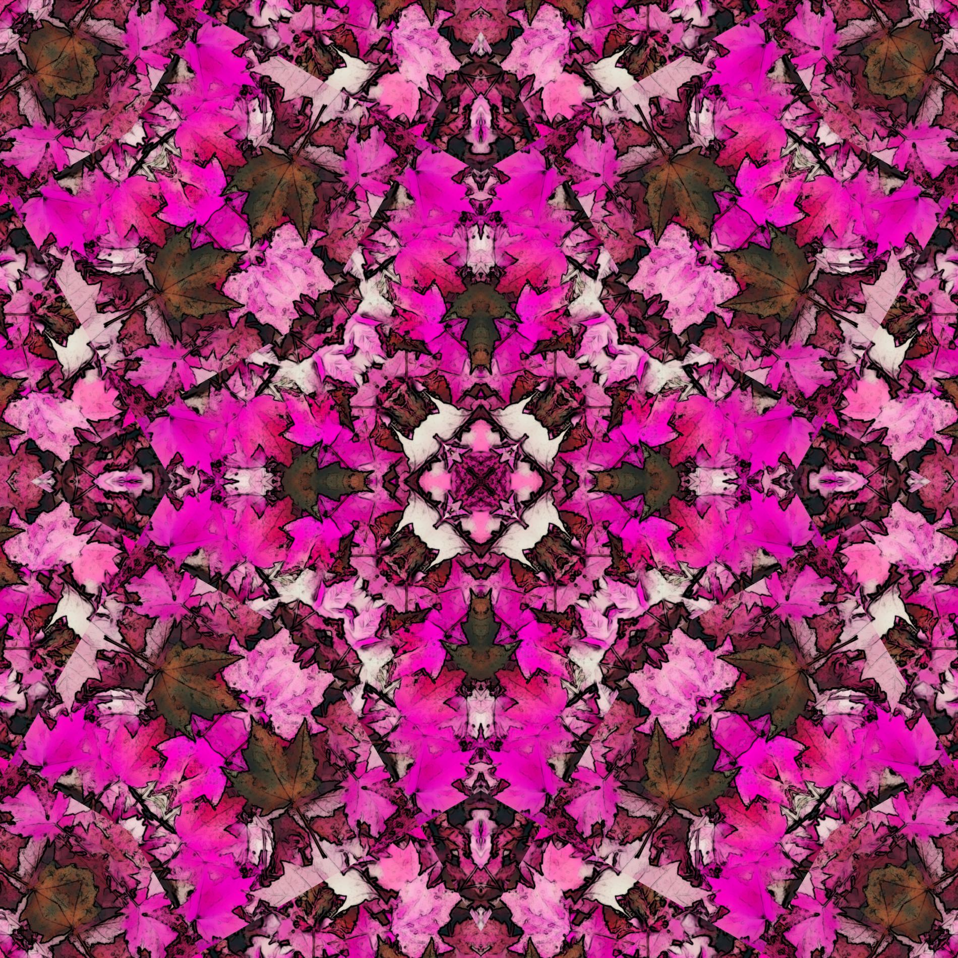 エレガントな紅葉のオシャレパターン模様:ピンク