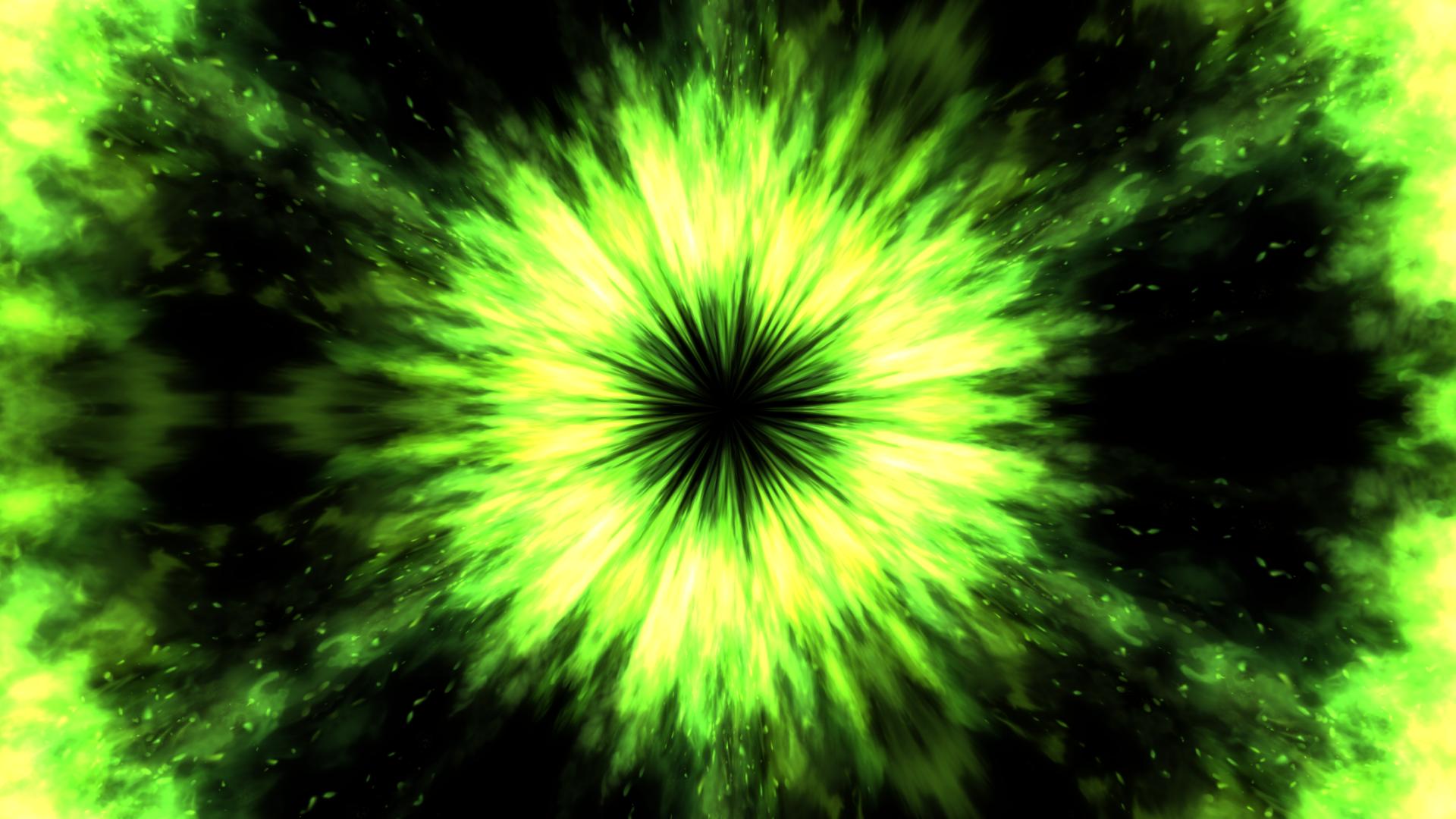 ファイヤー集中線-炎の魔法エフェクト-グリーン