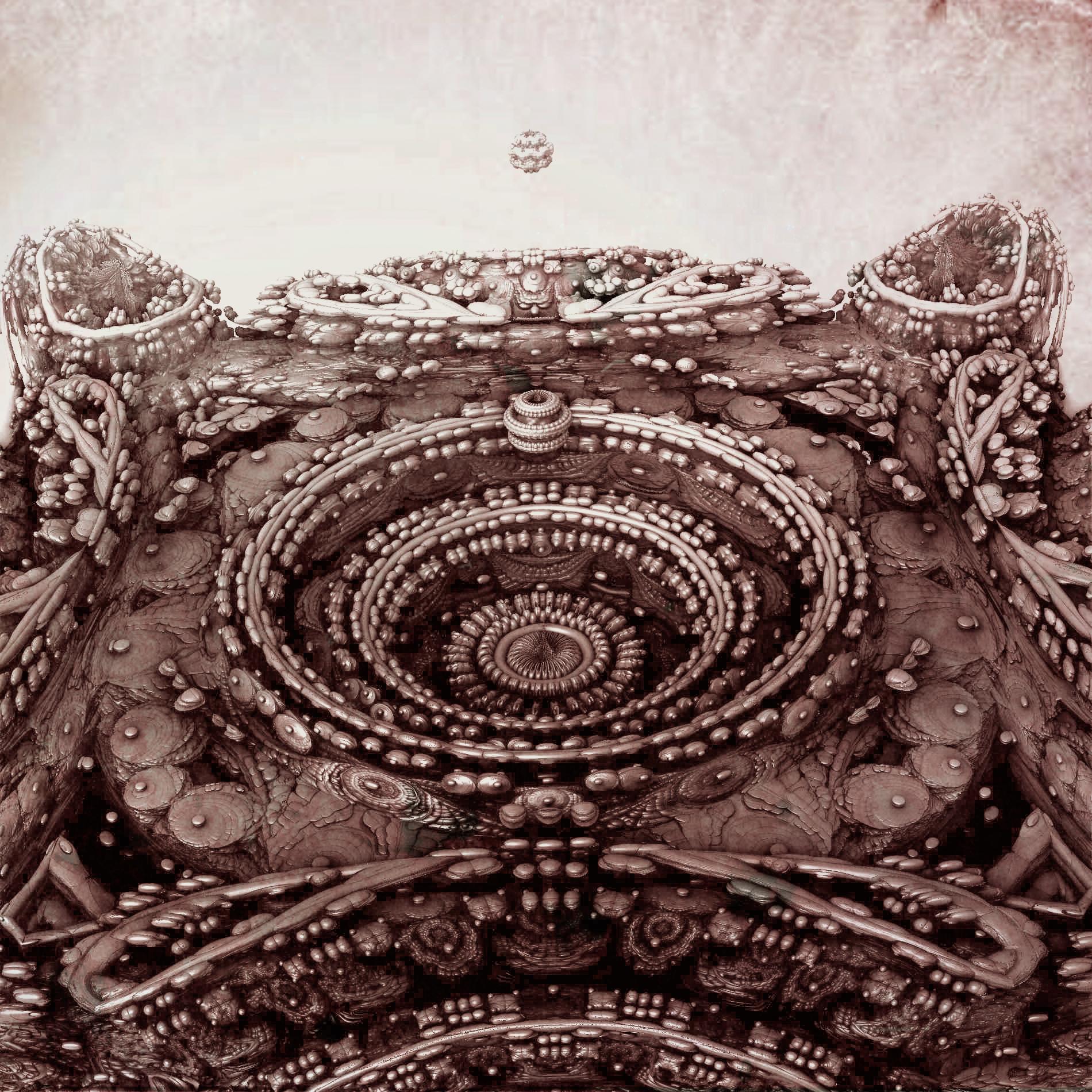 古代の遺跡 宇宙基地に宇宙船到着:モノクロ
