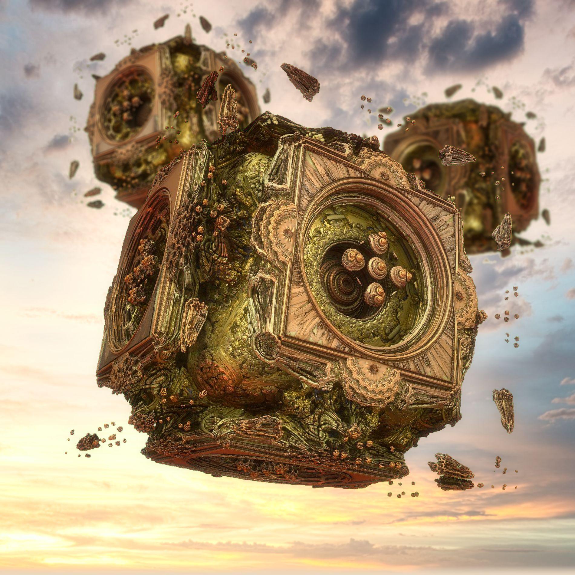 癒しの神秘的な空と静かな機械:リアル