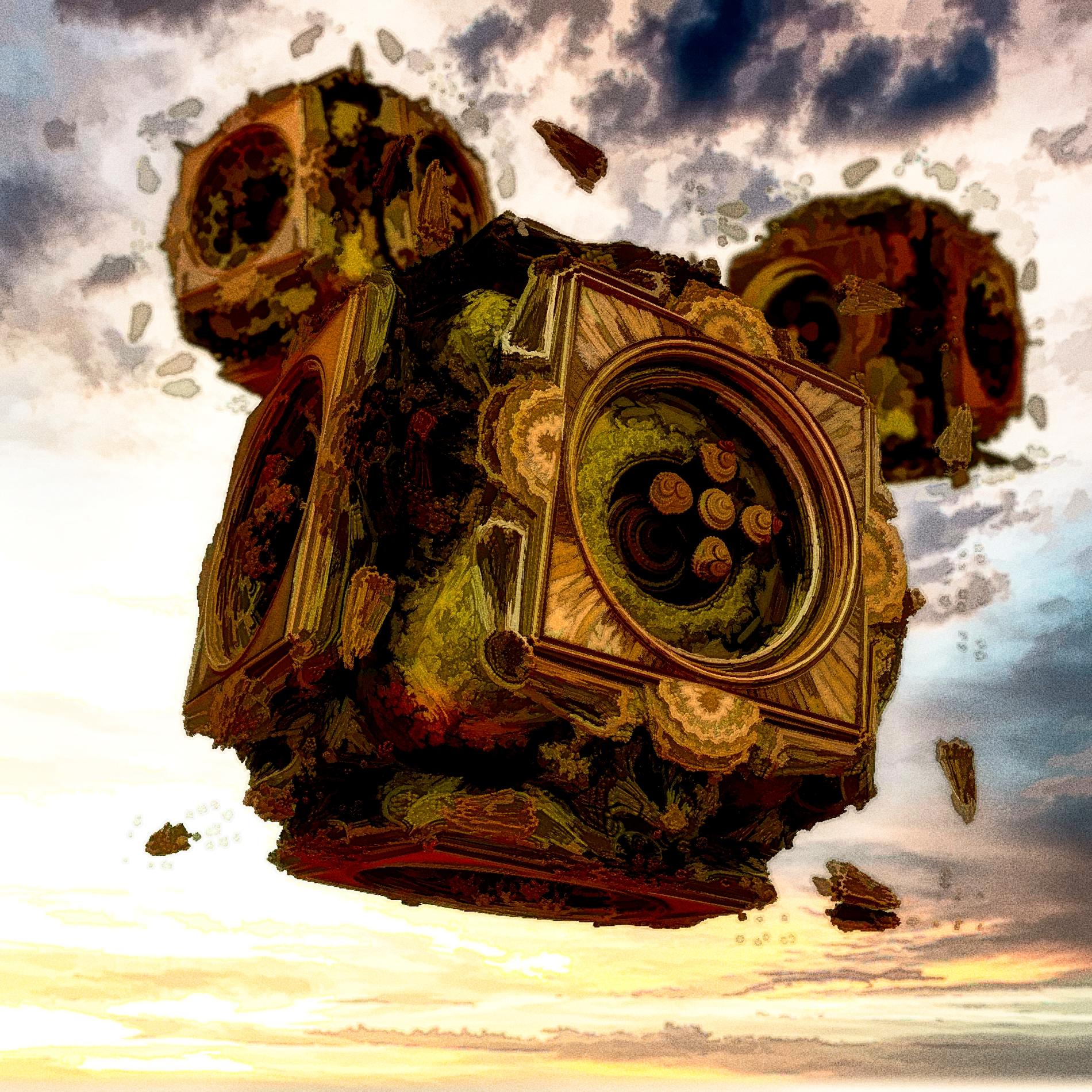癒しの神秘的な空と静かな機械:油彩