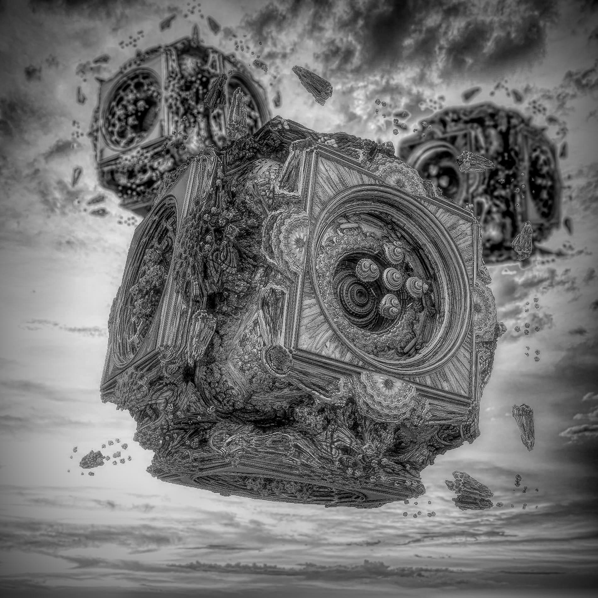 癒しの神秘的な空と静かな機械:白黒写真