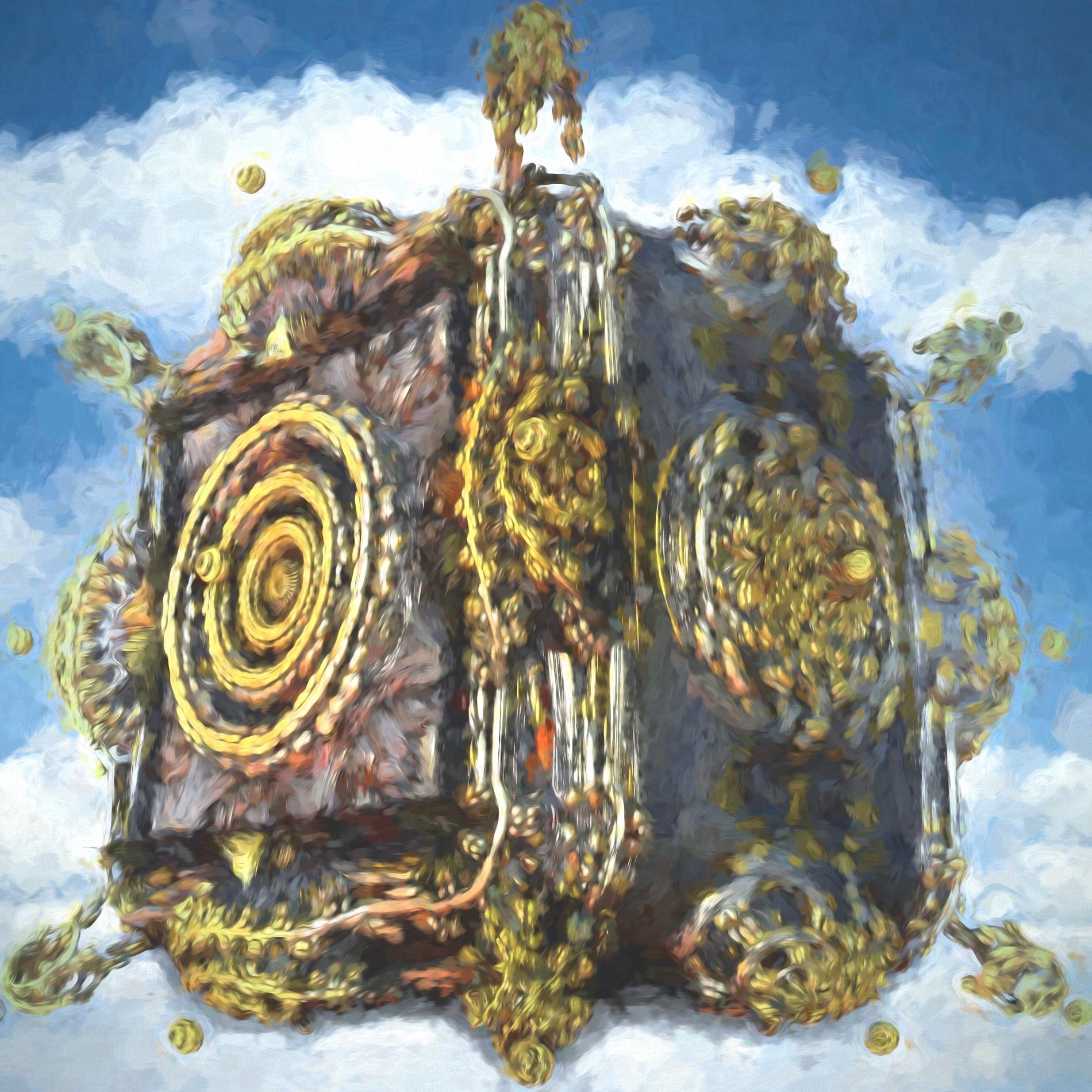 空に浮かぶ神秘的な寺院&ミステリアス:水彩