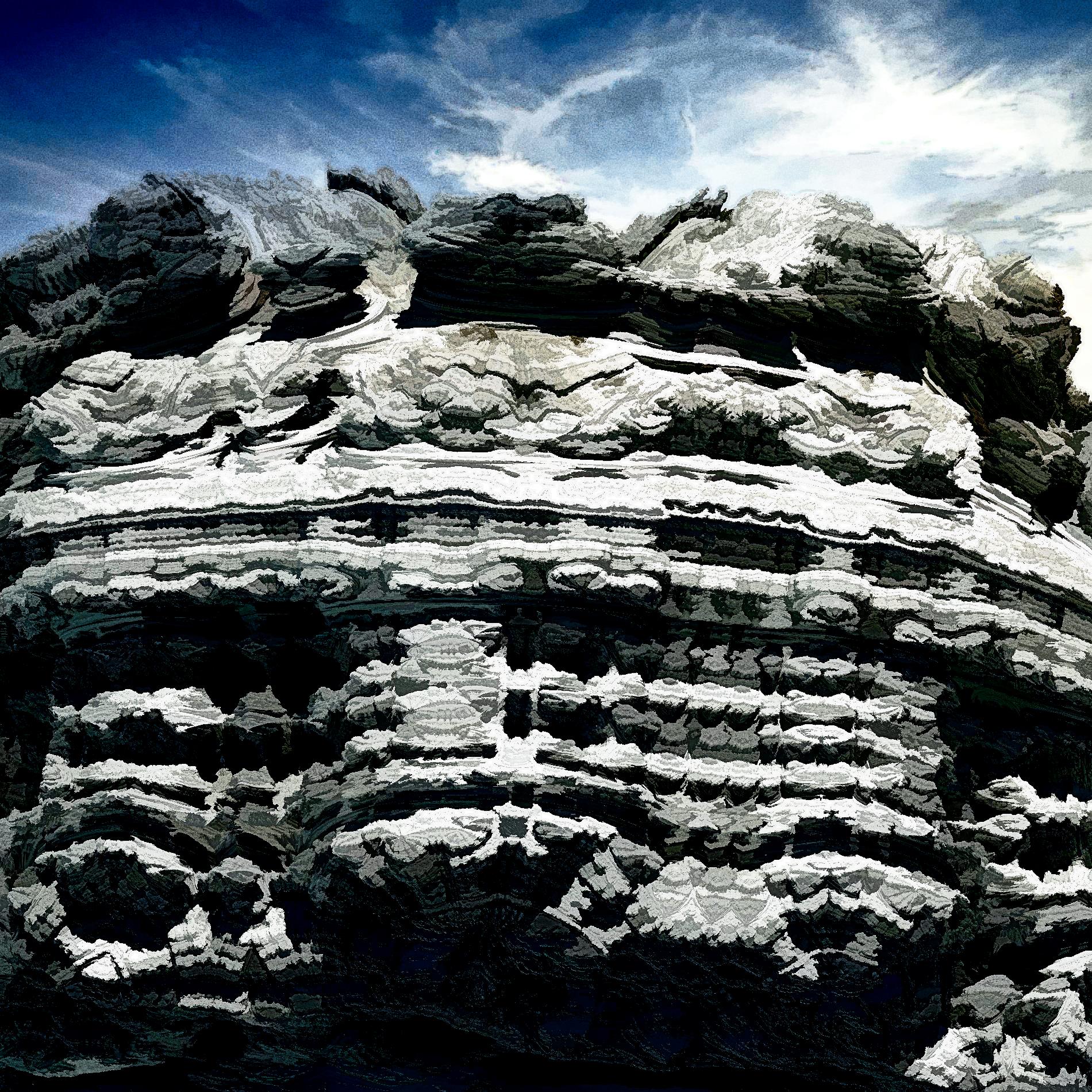 210930 絶壁冷たい岩肌冒険アドベンチャー風の山:油彩