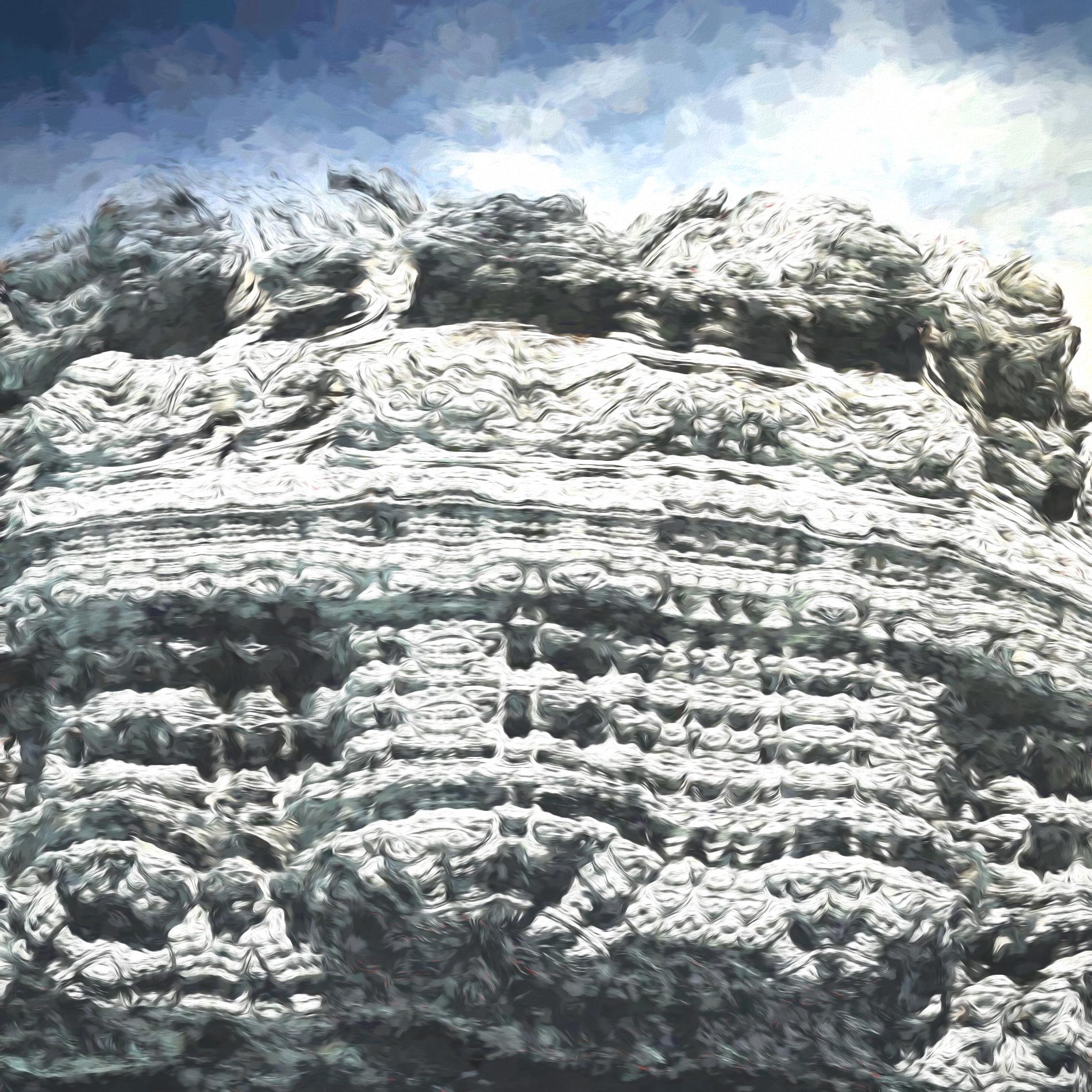 絶壁で冷たい岩肌&冒険アドベンチャー風の山:水彩