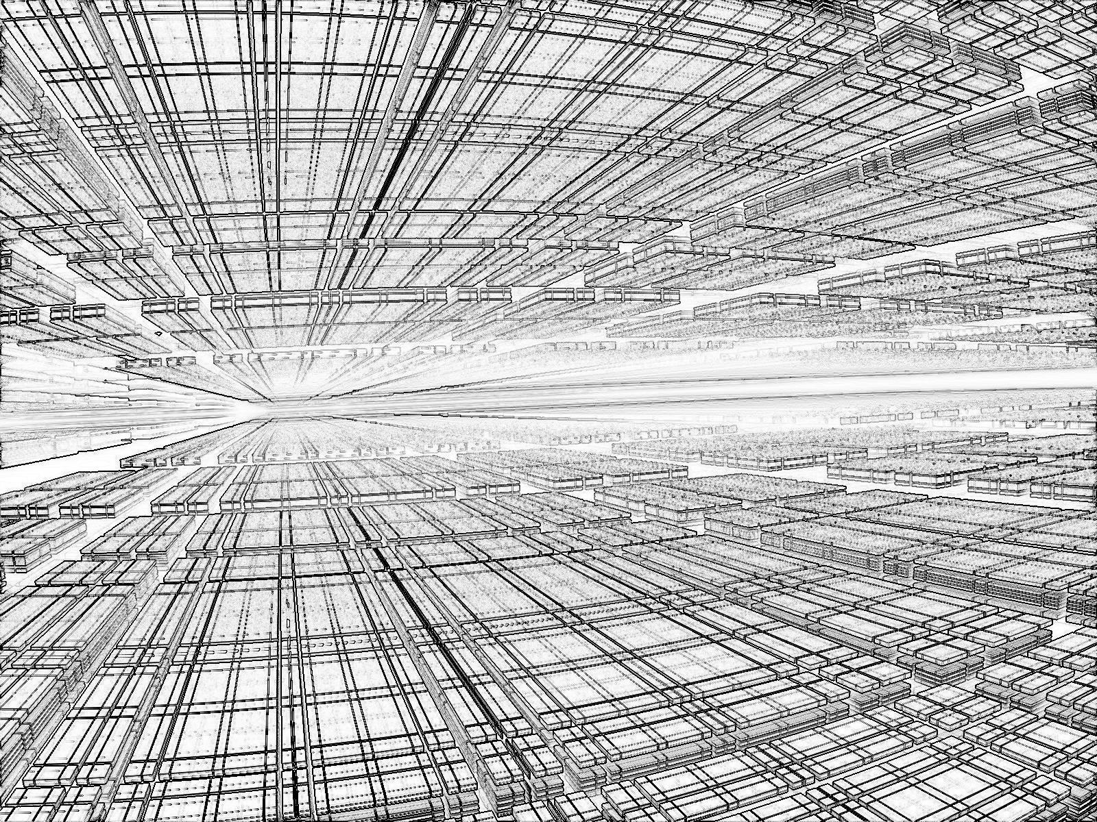近未来SFのデジタル赤外線空間_線画