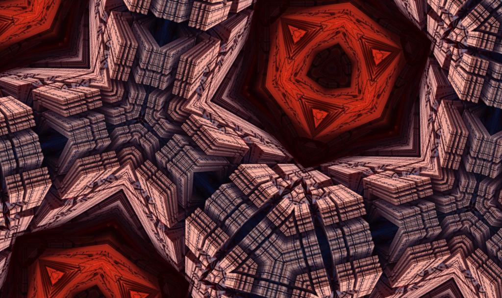 SFのスペース機械のパターン_レッド