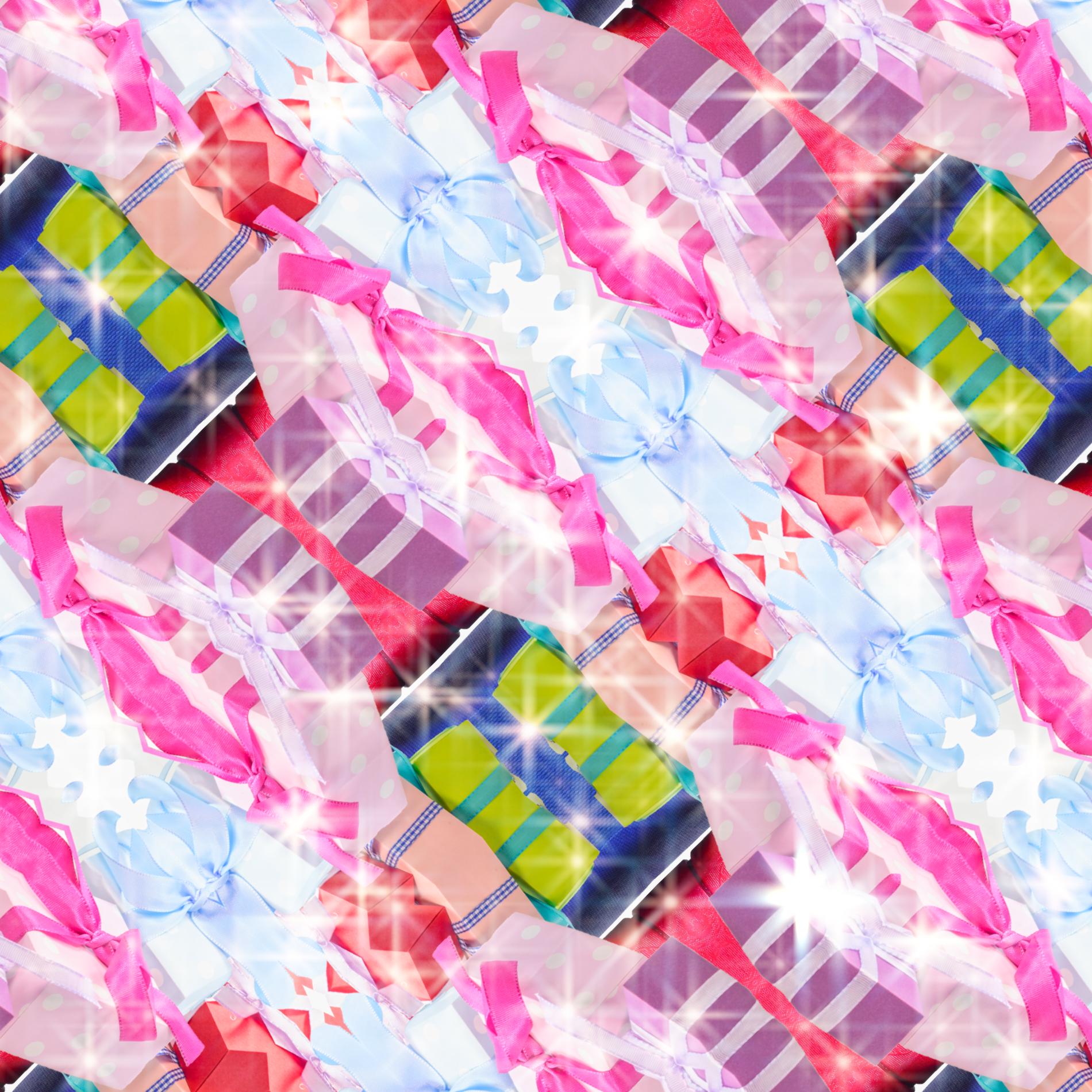 かわいいプレゼントボックス&カラフルパターン:キラキラ