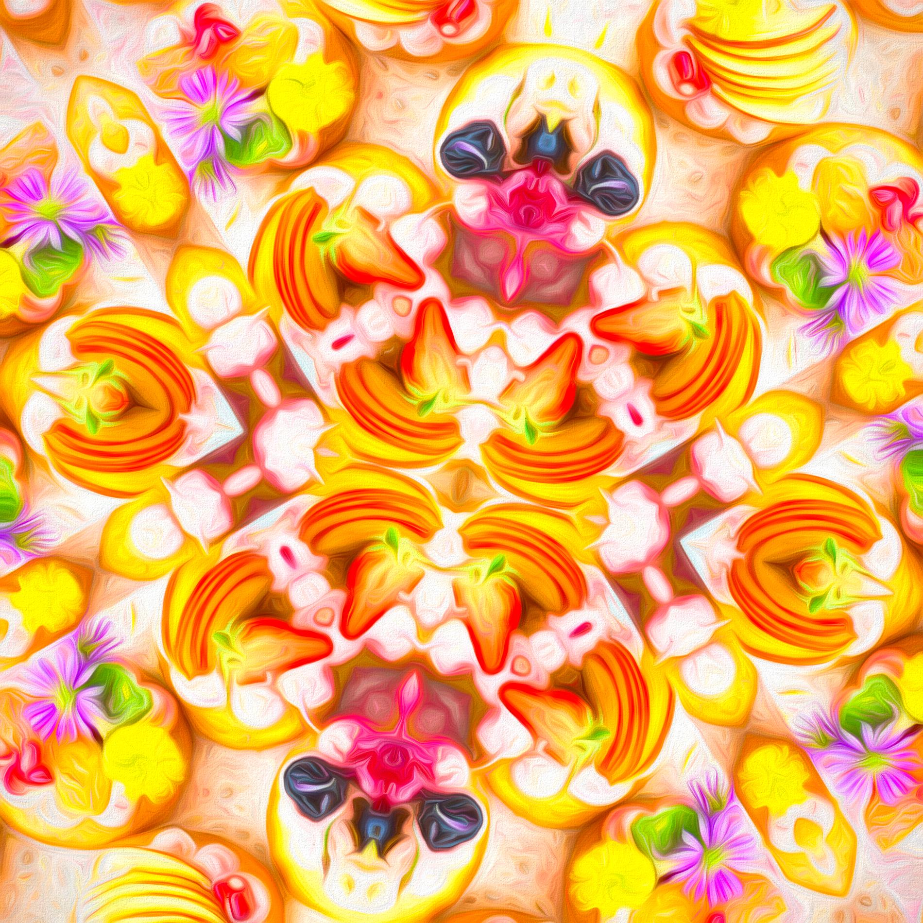 カラフルかわいい&フルーツタルトのパターン壁紙:ソフト