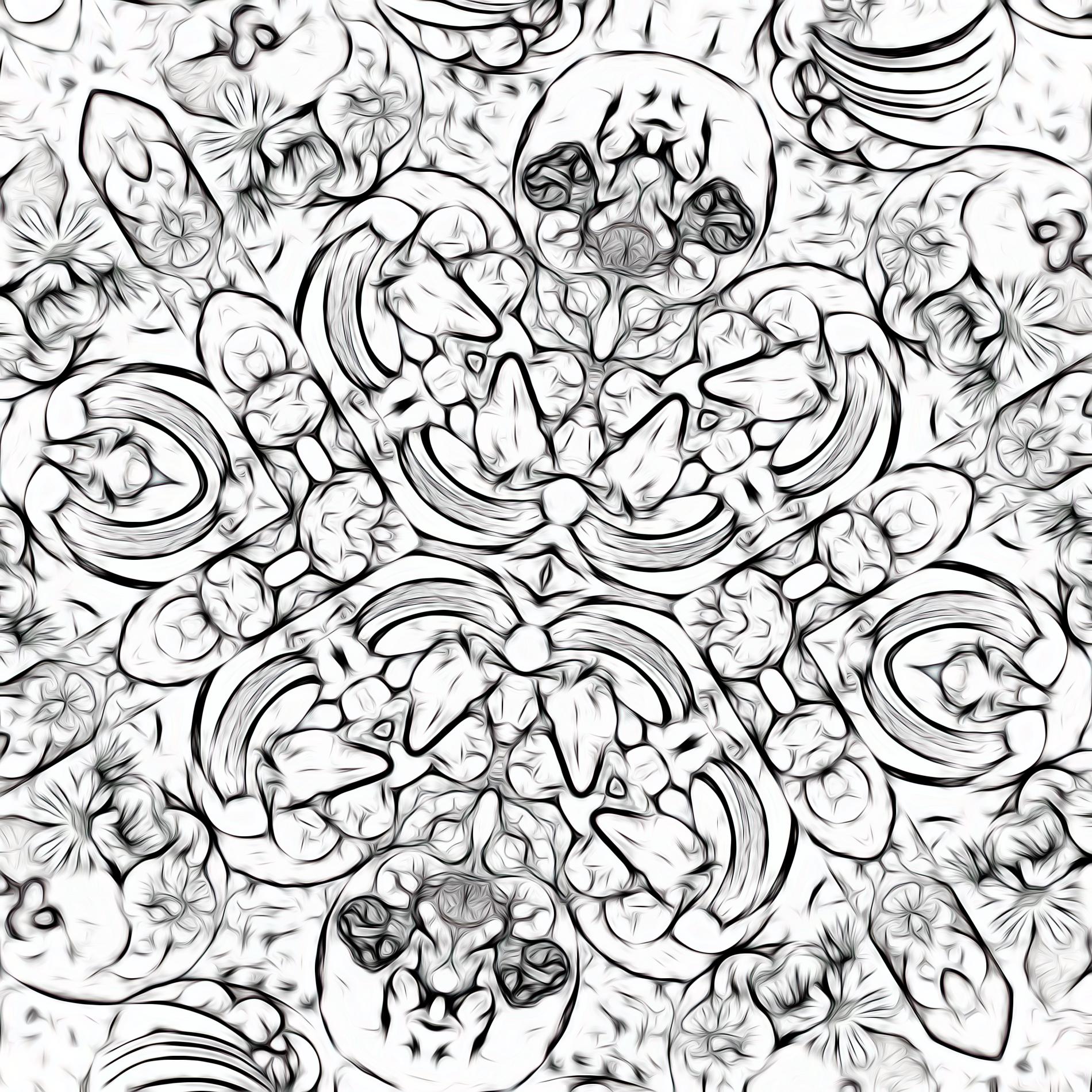 カラフルかわいい&フルーツタルトのパターン壁紙:スケッチ