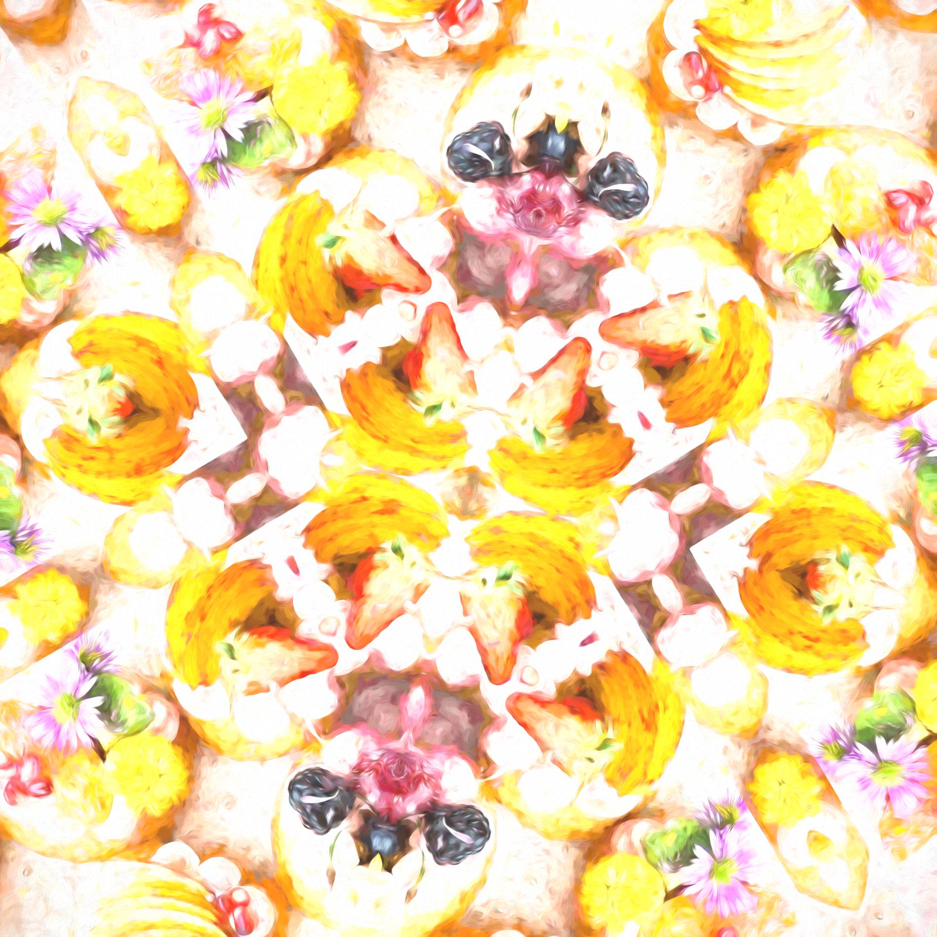 カラフルかわいい&フルーツタルトのパターン壁紙:水彩