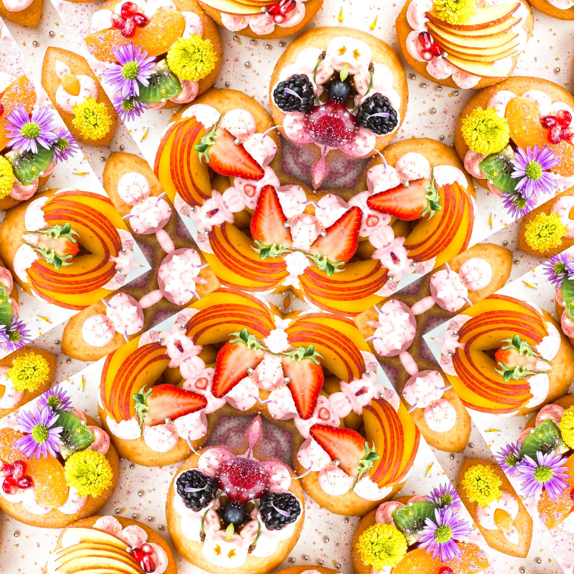 カラフルかわいい&フルーツタルトのパターン壁紙:リアル