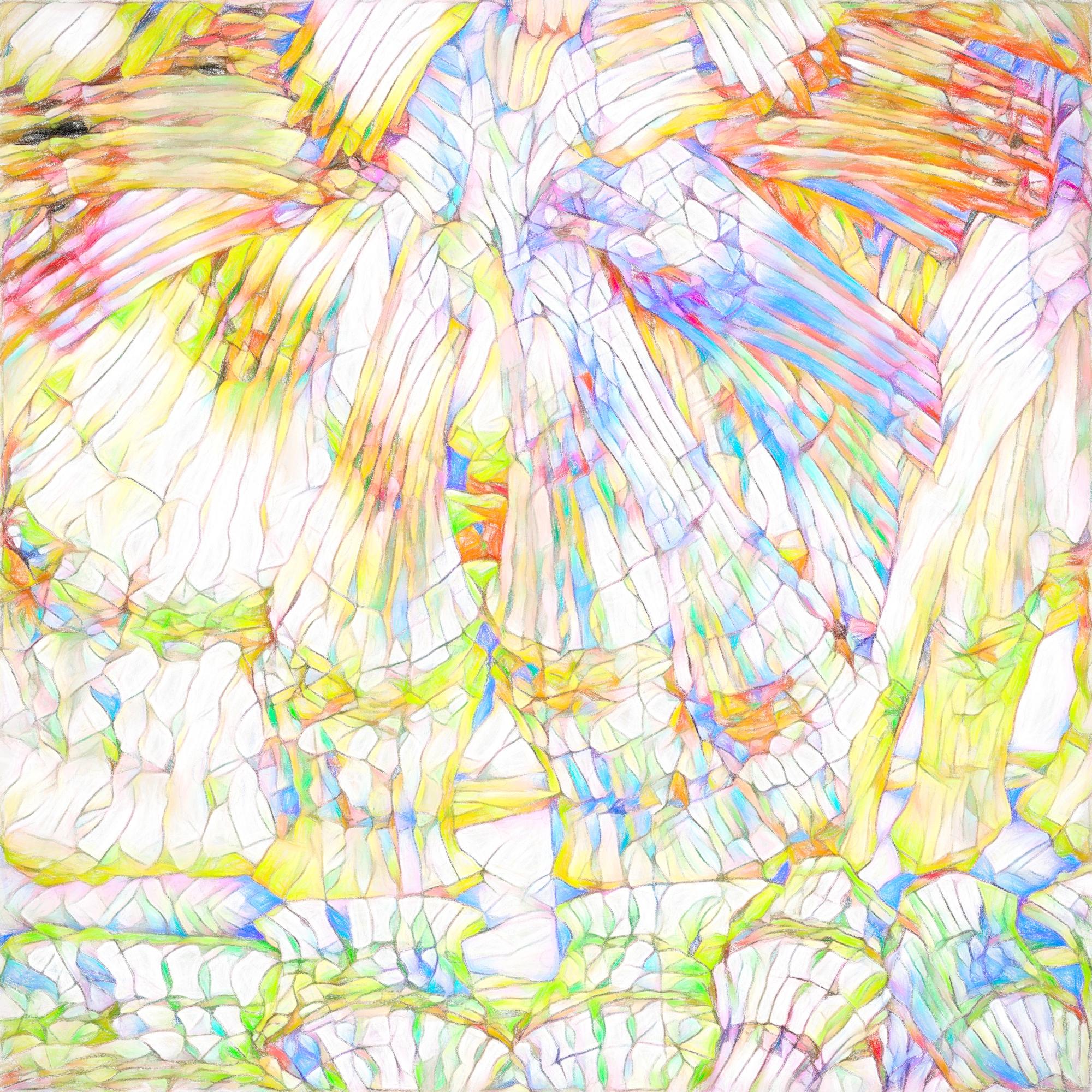 きれいなステンドグラスとカラフルガラス:色鉛筆